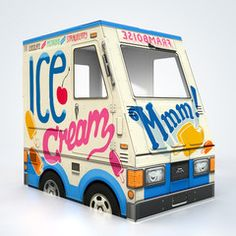 "OTO Ice Cream Truck - cardboard food truck for kids (40"" x 36"" x 24"") / via oto-toy.com"