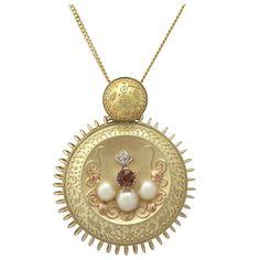 Vintage 1940s 0.61Ct Tourmaline, 0.15Ct Diamond, Pearl and 15k Gold Pendant