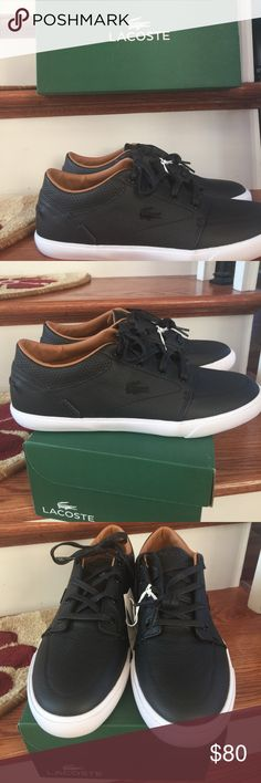 Lacoste men's shoes Lacoste black and white athletic lather shoes size 9 new Lacoste Shoes Athletic Shoes