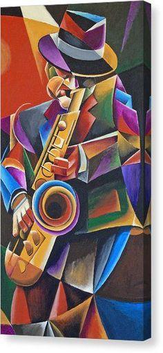 'Jazz Sax' Cubist painting by Bob Gregory Arte Pop, Jazz Poster, Jazz Art, Jazz Music, Pop Music, Cubism Art, African Art, Love Art, Graffiti