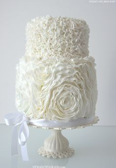 White Frilly Ruffle Wedding Cake / Wedding Cake Photo Gallery / RooneyGirl BakeShop / via StyleUnveiled.com