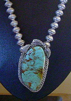 HUGE GORGEOUS ROYSTON TURQUOISE STERLING PENDANT W/ NAVAJO PEARL BEADS NECKLACE  | eBay