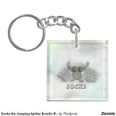 Shop Socks the Jumping Spider Acrylic Keychain created by TheSprite. Jumping Spider, Old Art, Different Shapes, Handmade Jewelry, Collage, Socks, Cartoon, Personalized Items, Artist