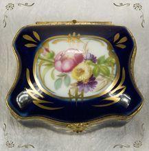 Limoges Cobalt Blue Hand Painted Flower Gold Gild Porcelain Trinket Box