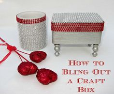 Cool blinged out trinket box and cup with red and clear crystals.
