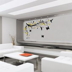 Swirls leaf with leaves, butterfly, humming bird, flowers and a vine removable art. Wall sticker decals.