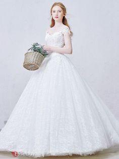 bc3920851e44d 編み上げロングオフショルダーレースプリンセスウエディングドレス お手頃ウェディングドレス