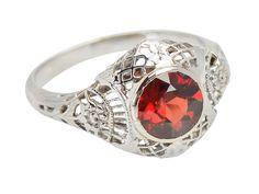 Cheery Garden - Vintage Faceted Garnet Ring