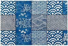 Tapis tufté main 100 % laine, composé de motifs traditionnels japonais. Design Florence Bourel. ©Toulemonde Bochart