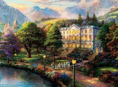 Thomas Kinkade Warner Brothers Movie Classics: The Sound of Music - Jigsaw Puzzle by Ceaco Thomas Kinkade, Jigsaw Puzzles, Nature, Art Thomas, Beautiful Images, Painter, Landscape Poster, Thomas Kinkade Puzzles, Art