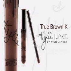 Hot Selling! New Makeup Gloss Lipstick Lip Kit Set by Kylie Jenner Color - True Brown K