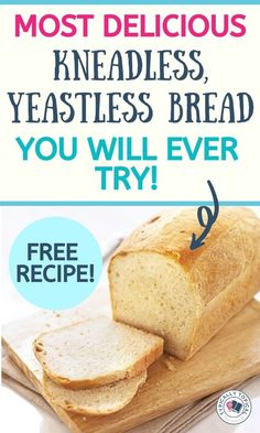 Most breads require LOTS of kneading to make the bread light and airy, but kneading dough can take time and not to mention lots and lots of elbow grease (talk a Yeast Free Breads, No Yeast Bread, Bread Baking, Easy Bread Recipes, Baking Recipes, Quick Bread, Yummy Snacks, Delicious Desserts, Yummy Food