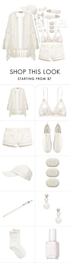 """""""Celebrate 10th Polyversary: Clean Season"""" by salsabila-alya ❤ liked on Polyvore featuring ADRIANA DEGREAS, Hanky Panky, H&M, Witchery, J.Crew, Inner Circle Jewelry, Hue, Essie, contest and polyversary"""
