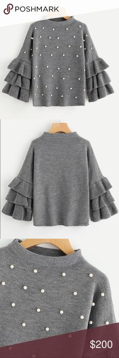 Grey Crew Neck Pearl Beading Tiered Ruffle Sleeve Please note 📝 takes up to 9 days after purchase to receive item 💕🙏🏻❤️ Grey Crew Neck Pearl Beading Tiered Ruffle Sleeve Jumper Long Sleeve Loose Cute Women Sweaters and Pullovers GenderWomen CollarCrew Neck Sleeve Length(cm)Full ThicknessStandard MaterialAcrylic Item TypePullovers DecorationBeading Clothing LengthRegular Sleeve StyleRegular Pattern TypeSolid Brand NameSheIn  Material Composition100% Acrylic StyleSweet…