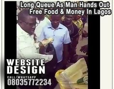 Long Queues As Man Hands Out Free Food & Money In Lagos (Pics, Video)   Long Queues As Man Hands Out FREE MONEY & Food In Ikeja, Lagos.  His foundation Iam Kokun Foundation was Ikeja in Lagos yesterday morning 03 January 2017 and gave support to poor Nigerians - Cash, food  Watch video  https://youtu.be/MzvefVoAkDw        . >>> See More >>>http://u.to/b2CgDw  ***************  *Now is the time to get great Website Design. .. Call/Whatsapp 08035772234