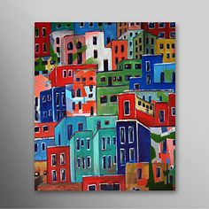 Hand Painted Oil Painting Abstract Houses with Stretched Frame Ready to Hang – USD $ 79.99