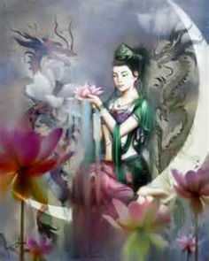 Quan yin with dragons<3