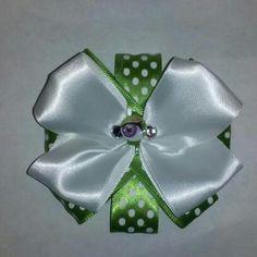 Lime Green & White Hair Bow! White Hair Bows, Lime, Green, Limes, Key Lime