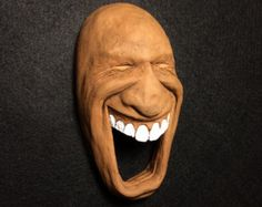 Muy linda cara de cerámica escultura de pared por blmartinstudios