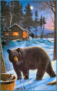 bear paintings - bear paintings _ bear paintings acrylic _ bear paintings on canvas _ bear paintings for kids Bear Paintings, Wildlife Paintings, Wildlife Art, Animals And Pets, Cute Animals, Hunting Art, Bear Decor, Bear Art, Outdoor Art