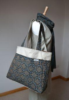 Ethnic Handprinted Ajrak fabric bag  Silver rombs by margoshka, $42.00