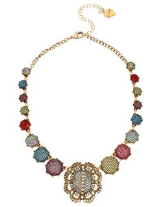 Mesh Wrapped Multi-Colored Crystal Statement Necklace | Hudson's Bay