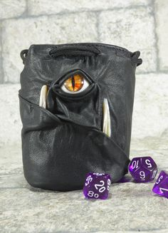Dice Marble Bag Fairy Pouch With Face RPG Drawstring Black Rune Bag Gamer Gift Accessory Black Leather