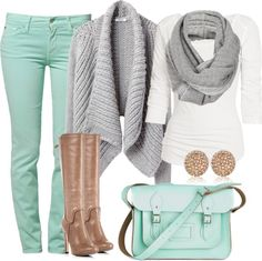 Mint, grey & tan for colder weather