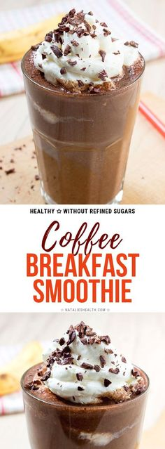 Recipes Breakfast For Teens This creamy Coffee Breakfast Smoothie is full of dark chocolate and coffee flavor, very nutritious and so HEALTHY. Perfect smoothie to start the day! Coffee Breakfast Smoothie, Coffee Smoothie Recipes, Healthy Breakfast Smoothies, Coffee Recipes, Healthy Coffee Smoothie, Healthy Chocolate Smoothie, Simple Smoothies, Green Smoothies, Eat Breakfast