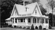 """""""George Taber Cottage, 1874, 1982, 921 East Shore Road, Conanicut Park.  The embellishment of this cross-gabled residence, restored in 1982, include the bargeboards, balustrades, and porch railings."""" http://www.jamestownri.com/library/node_localinfo/history.html"""