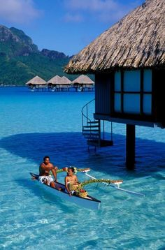 Breakfast served directly to your overwater bungalow via canoe. That's room service! | boraboraphotos.com