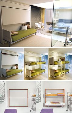 Lollipop bunk beds (aka Murphy bunk bed) - These completely fold up into the wall when not in use.  These run between 500 dollars and 6,900 dollars.