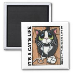Cute Kitty Cat with PC / computer mouse Magnet