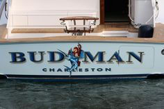#TRANSOM: Budman, Charleston #Boat #Transom #BoatTransom  TRANSOM #TECHNIQUE: #CustomGraphics  #CustomBoatLettering    #BOAT #BUILDER #BoatBuilder: #BaylissBoatworks, #NorthCarolina