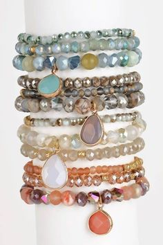 Chose from Grey, Ivory or Rose.<br />Other two colors restocking soon!<br />Natural stone charm. Each set includes 3 bracelets.