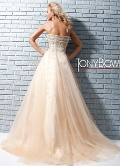 Strapless prom dress with sequin bodice with visible boning and banded accents, by Tony Bowls Le Gala.