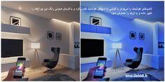 لامپ های هوشمند را می توان با گوشی یا اسپیکر هوشمند کنترل کرد و با فرمان صوتی رنگ این چراغ ها را تغییر داده و یا آن ها را خاموش نمود Flat Screen, Home Decor, Flat Screen Display, Decoration Home, Flatscreen, Interior Design, Home Interior Design, Home Improvement