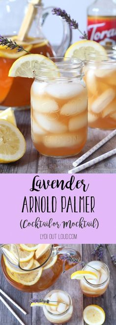 This Lavender Arnold Palmer is the perfect summer refreshment. Enjoy is Cocktail or Mocktail style! #mocktail #arnoldpalmer #drinkideas #beverages #partyfood @lydioutloud