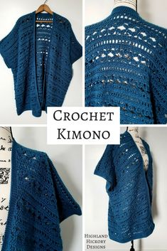 Crochet the Water's Edge Kimono with this free pattern. The perfect layering piece for your wardrobe, this Kimono is simple in construction of 3 rectangular panels. There is a photo stitch tutorial included. Pattern includes sizes S, M, L, XL, 2XL, 3XL. #crochet #freecrochetpattern #kimono #kimonopattern