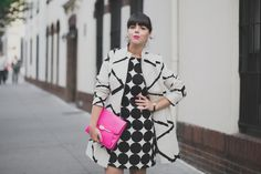 desigual coat and dress coach madison clutch - i love play with b&w prints - i would only pick red instead of pink :)