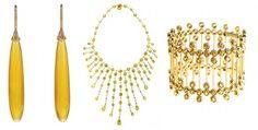 Pasando a los tonos amarillos, tenemos estos pendientes de alta joyería con dos ópalos y zafiros naranjas, de Chopard; un collar en oro blanco, diamantes y citrinos, de Perodri; o una pulsera en oro y zafiros amarillos, de Grassy.