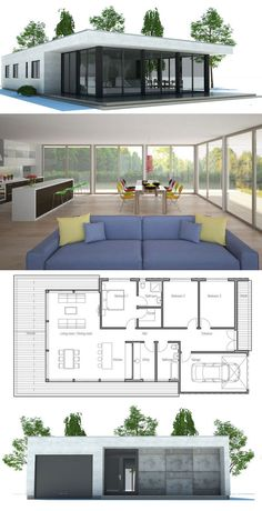 House Plans in Modern Architecture. Minimalist House Design, Minimalist Architecture, Architecture Plan, Minimalist Home, Modern House Design, Contemporary House Plans, Modern House Plans, Small House Plans, House Floor Plans