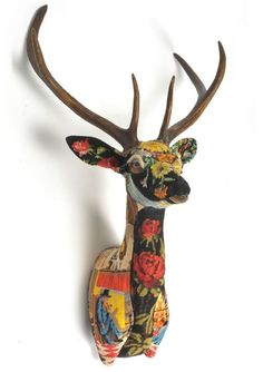 Frederique Morrel. Plastic taxidermy moulds covered with vintage tapestries. http://www.frederiquemorrel.com/