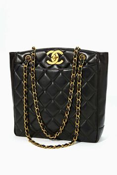 Vintage Quilted Chanel Black Leather Tote
