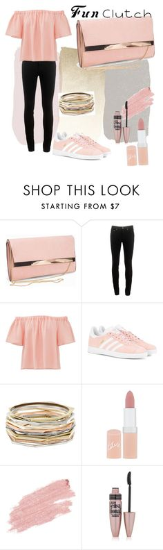 """""""Coral Clutch"""" by chloemorgan-i ❤ liked on Polyvore featuring New Look, rag & bone, Rebecca Taylor, adidas Originals, Kendra Scott, Rimmel, Jane Iredale and Maybelline"""