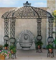 Exterior : Unique Gazebo Pod Ideas For Agreeable Home Exterior And Garden Seating Areas With Round Wicket And Comfy Sofa - A Part Of Gorgeous Wooden Gazebo And Metal Gazebo Designs Ideas Image Gallery