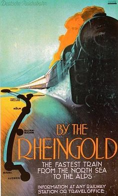 1928.The Rheingold (Rhinegold) was a famous train that operated between Hoek van Holland, near Rotterdam, and Geneva, Switzerland (or Basel before 1965), a distance of 1,067 kilometres (663 mi), until 1987. Another section of the train started in Amsterdam and was coupled to the Hoek cars in Utrecht. The Rheingold ran along the Rhine River via Arnhem, Netherlands, and Cologne, Germany, using special luxury coaches. It was named after Richard Wagner's Das Rheingold opera, which romanticized…