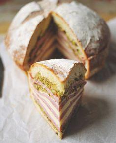 Muff-a-lotta Muffuletta Recipe by Our Cookbook Collection _ A traditional Southern muffuletta. What a great-looking sandwich! Muffuletta Recipe, Muffuletta Sandwich, Crostini, Bruschetta, Paninis, Soup And Sandwich, Sandwich Recipes, Empanadas, Tacos