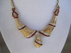 Dramatic Corocraft Red Rhinestone Necklace by VintagObsessions, $55.00