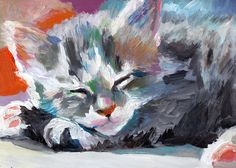 Small cat / Original painting / Acrylic painting / by tushtush, $75.00